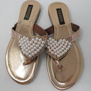 Shoes - Rose Gold Pearl Sandal flip flops